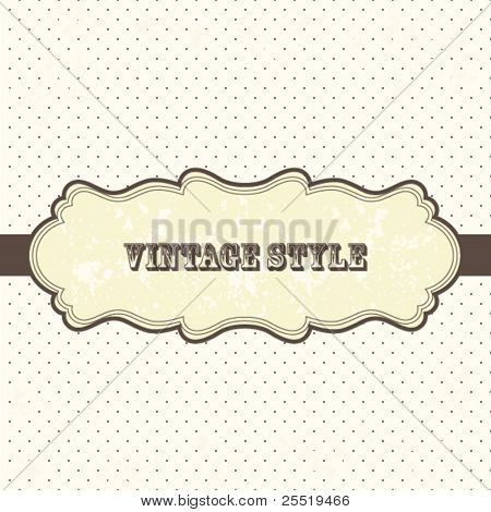 Vintage frame with polka dot background