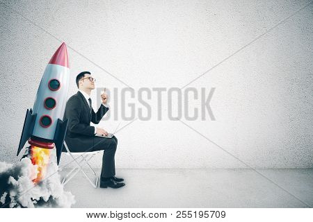 Businessman With Creative Launching Rocket. Start Up And Launch Concept. 3d Rendering