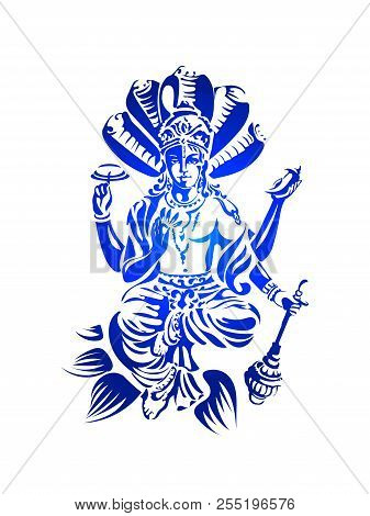 Hindu Lord Vishnu Sitting On Lotus And Blessing. Supreme Being In Its Vaishnavism Tradition Is The P