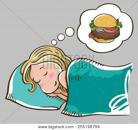 Sleeping Blonde Girl On A Pillow Dreaming About Burger. Isolated On Grey Background. Burger Dream. G