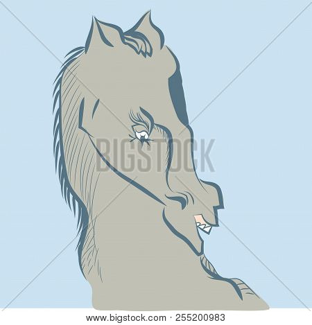 Furious Horse.  Illustration Of Wild Horse Head In Blue Background.