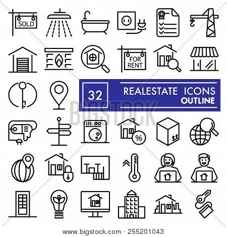 Realestate Line Icon Set, House Symbols Collection, Vector Sketches, Logo Illustrations, Rent Signs