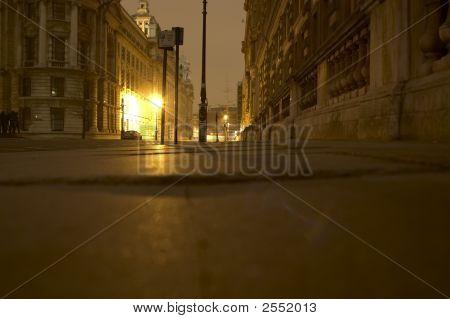 Image of London street at night at