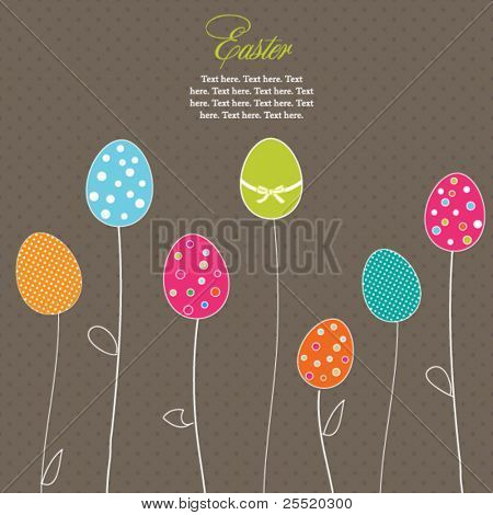 Easter eggs-flowers card with  polka dot background