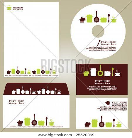 Plantilla de negocio, conjunto de cocina/restaurante/cafetería