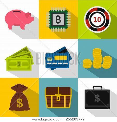 Monetary Resource Icons Set. Flat Illustration Of 9 Monetary Resource Icons For Web