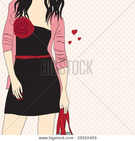 Romantic girl , card for life events (birthday, graduation party,invitation,wedding etc)