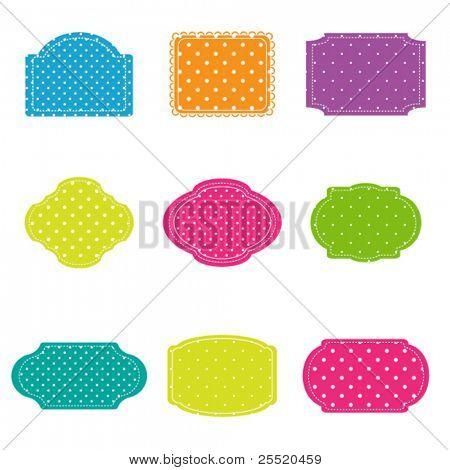 Vector set of colorful polka dot  frames