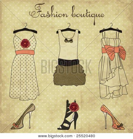 Vintage Fashion Boutique Satz, doodles