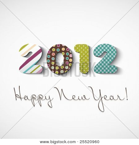 Happy new year 2012, colorful stickers