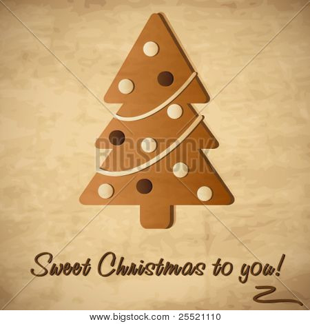 Vintage card with Christmas tree, Gingerbread Cookie illustration