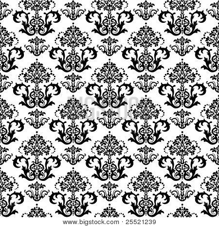 Seamless black and white floral wallpaper