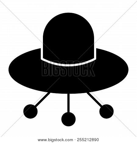 Ufo Solid Icon. Alien Spaceship Vector Illustration Isolated On White. Flying Ufo Saucer Glyph Style