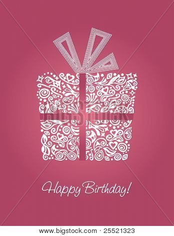 Detailed pink Happy Birthday card