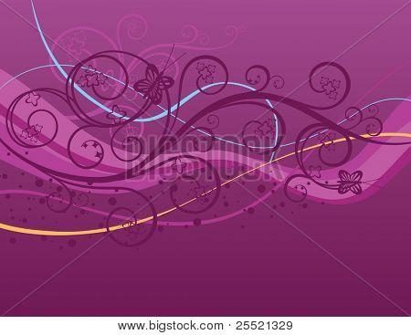 Purple swirls, waves and butterflies background
