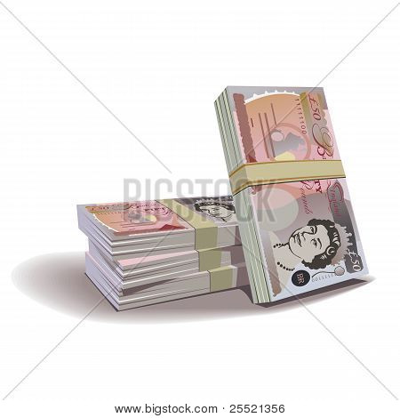 Pound banknotes vector illustration, financial theme