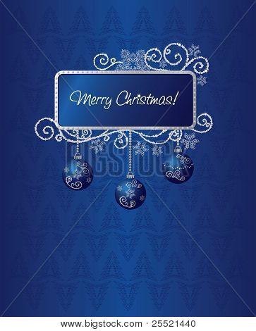 Blue & silver Christmas card illustration