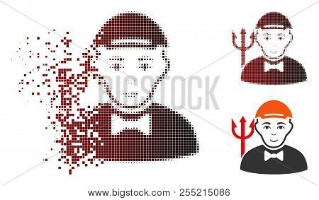 Daemon Icon With Face In Fractured, Pixelated Halftone And Undamaged Whole Variants. Elements Are Co