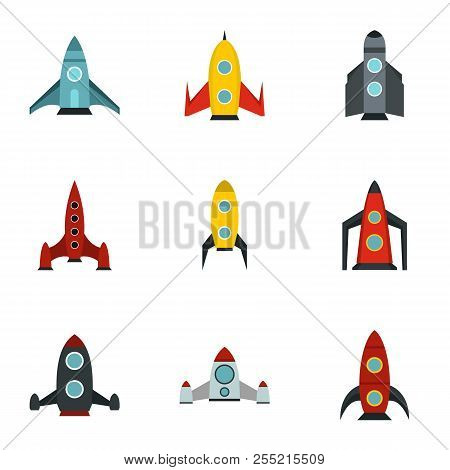 Flight In Cosmo Icons Set. Flat Illustration Of 9 Flight In Cosmo Icons For Web