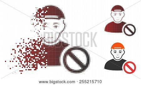 Forbidden Man Icon With Face In Sparkle, Dotted Halftone And Undamaged Whole Versions. Pieces Are Ar