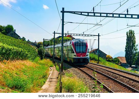 Lavaux, Switzerland - August 30, 2016: Running Train In Vineyard Terrace Hiking Trail Of Lavaux, Lav