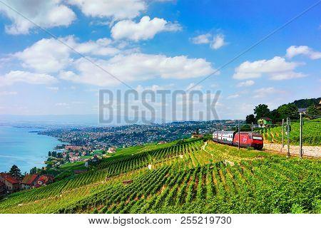 Lavaux, Switzerland - August 30, 2016: Running Train At Lavaux Vineyard Terraces Hiking Trail At Lak