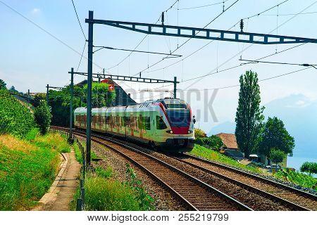 Lavaux, Switzerland - August 30, 2016: Train In Vineyard Terraces Of Lavaux Near Lake Geneva And Swi