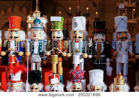 Nutcrackers At Christmas Market At Alexanderplatz In Winter Berlin, Germany. Advent Fair Decoration