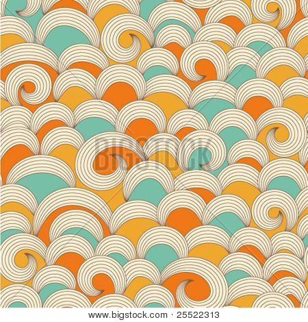seamless background with colorful waves ornament