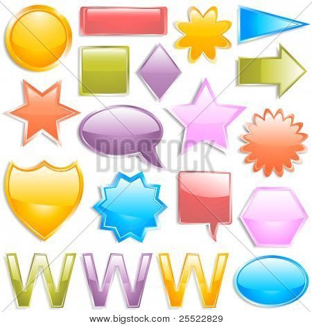 Glossy colorful web elements (raster version)
