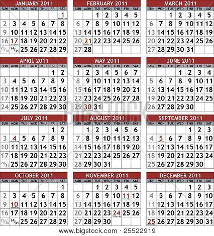 Classic 2011 calendar template (raster version)