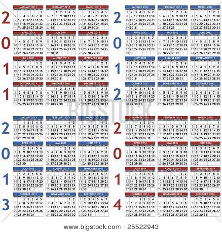 Collection of classic calendar templates for years 2011 - 2014 (raster version)
