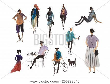 Different Types Of Walking People Watercolor Illustration Quick Sketch Drawing.