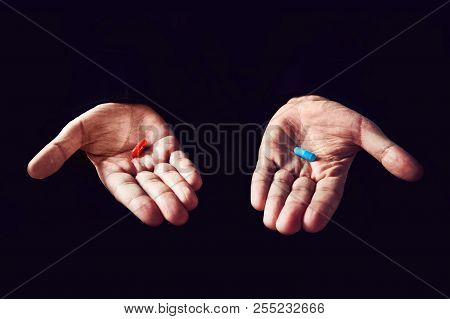 Red Pill Blue Pill Concept. The Right Choice The Concept Of The Movie Matrix. The Choice Of Tablets