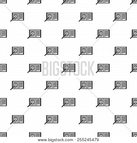 Magnifying Glass Over Open Book Pattern. Simple Illustration Of Magnifying Glass Over Open Book Patt