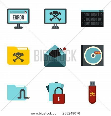 Ddos attack icons set. Flat illustration of 9 ddos attack icons for web poster