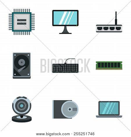 Computer setup icons set. Flat illustration of 9 computer setup icons for web poster
