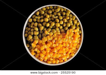 Corn And Peas On Black