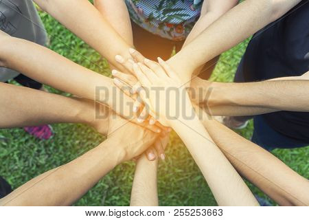 Teamwork Togetherness Collaboration Concept, People Group Join Hands Together Unity Symbol During, S