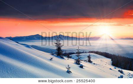 Dawn in mountains Karpati, Ukraine. Winter morning