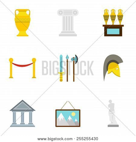 Historical Museum Icons Set. Flat Illustration Of 9 Historical Museum Icons For Web