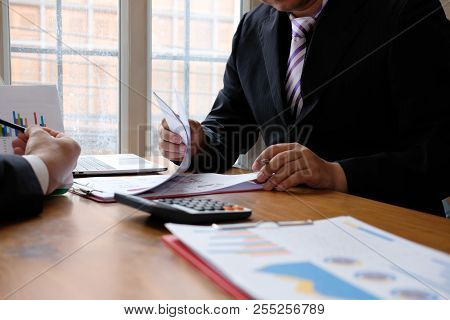Business Adviser Discussing With Businessman & Professional Investor. Internal Auditor Audit Perform