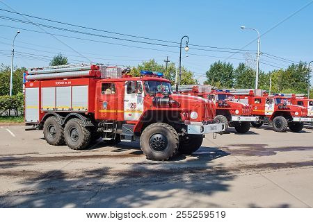 Krasnoyarsk, Russia - August 25, 2018: The Solemn Delivery Of New Fire Trucks To Crews Of Mes Dated