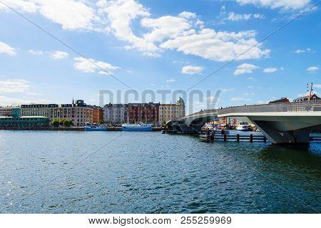 Copenhagen, Denmark - July 13, 2018. A Water Bridge Over The Canal. Architecture. City Landscape Tra