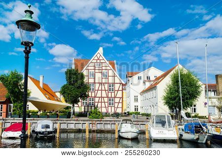 Copenhagen, Denmark - July 9, 2018. Beautiful Architecture Of Copenhagen. Architecture City Landscap