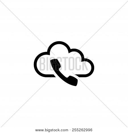 Voip, Ip Telephony. Flat Vector Icon Illustration. Simple Black Symbol On White Background. Voip, Ip