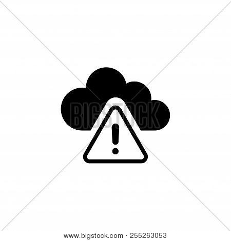 Warning Cloud Computing, Ddos Attack. Flat Vector Icon illustration. Simple black symbol on white background. Warning Cloud Computing, Ddos Attack sign design template for web and mobile UI element poster