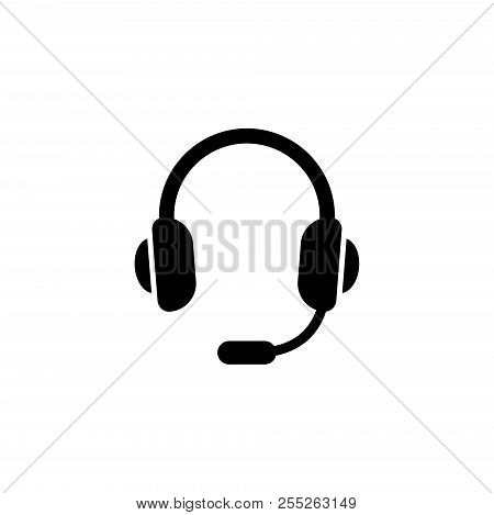 Headset, Support Headphone. Flat Vector Icon Illustration. Simple Black Symbol On White Background.