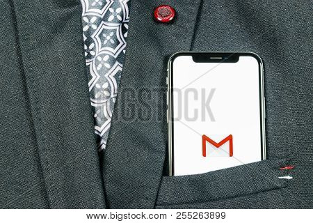 Sankt-petersburg, Russia, August 24, 2018: Google Gmail Application Icon On Apple Iphone X Smartphon