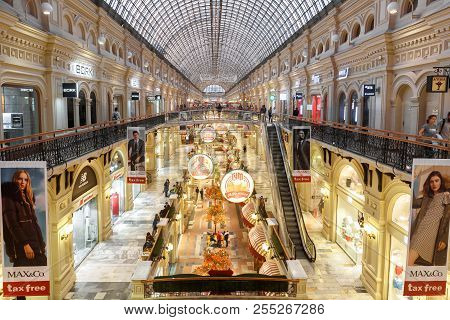 Moscow - August 22, 2018: Inside The Gum (main Department Store) In Moscow Center, Russia. Gum Is A
